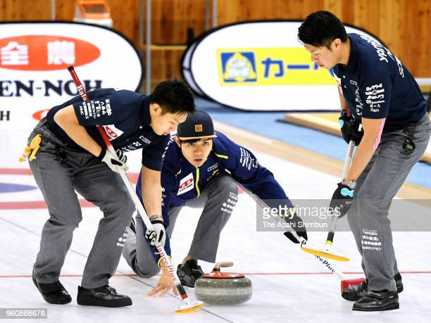 Yusuke Morozumi of SC Karuizawa delivers the stone in the 6th end against the Team IWAI on day three of the 2018 PacificAsia Curling Championships...