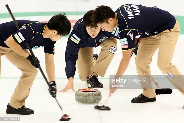 Yusuke Morozumi of SC Karuizawa looks on after he throws a stone during Game Three of the Curling Japan Qualifying Tournament between SC Karuizawa...