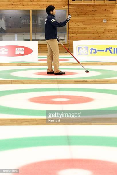 Yusuke Morozumi of SC Karuizawa looks on during Game Two of the Curling Japan Qualifying Tournament between SC Karuizawa and Sapporo at Dohgin...