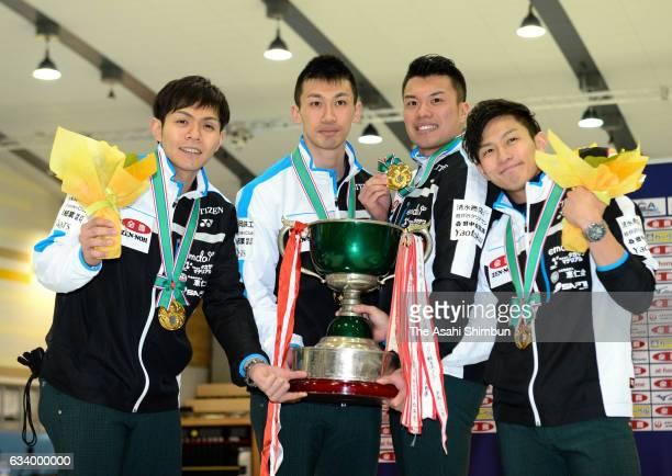 Yusuke Morozumi Tetsuro Shimizu Tsuyoshi Yamaguchi and Kosuke Morozumi of SC Karuizawa celebrates winning the Men's Championship at the award...