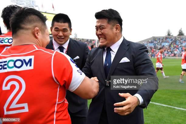 Yusuke Niwai and Takuma Asahara shakes hands after winning the Super Rugby Rd 7 match between Sunwolves v Bulls at Prince Chichibu Memorial Ground on...