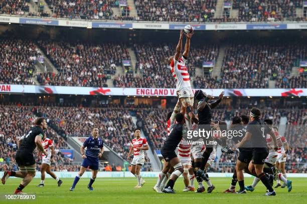 Yusuke Niwai of Japan wins a lineout ball during the Quilter International match between England and Japan at Twickenham Stadium on November 17 2018...