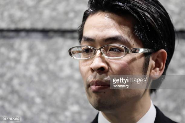Yusuke Otsuka chief operating officer and cofounder of cryptocurrency exchange Coincheck Inc pauses as he speaks to members of the media at an...