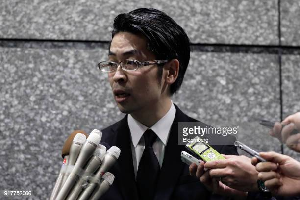 Yusuke Otsuka chief operating officer and cofounder of cryptocurrency exchange Coincheck Inc speaks to members of the media at an entrance lobby of...