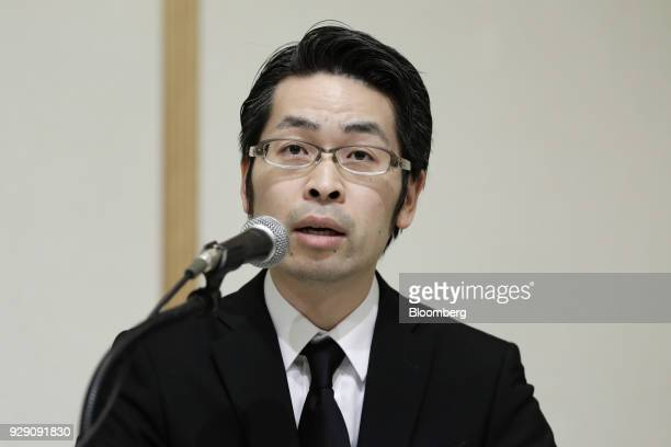 Yusuke Otsuka chief operating officer of Coincheck Inc speaks during a news conference in Tokyo Japan on Thursday March 8 2018 Coinchecksaid it will...