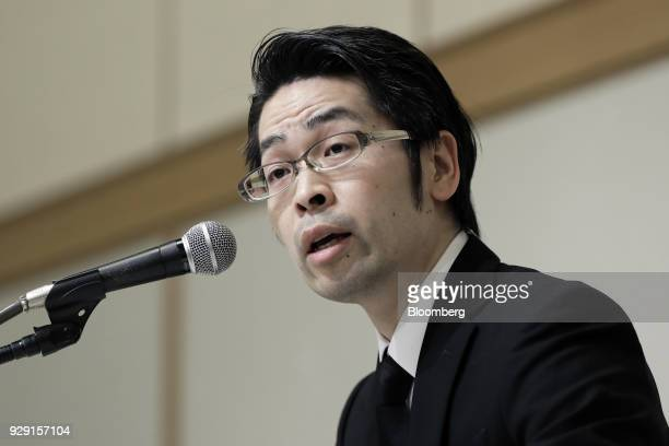 Yusuke Otsuka chief operating officer of Coincheck Inc speaks during a news conference in Tokyo Japan on Thursday March 8 2018 Coincheck said it will...