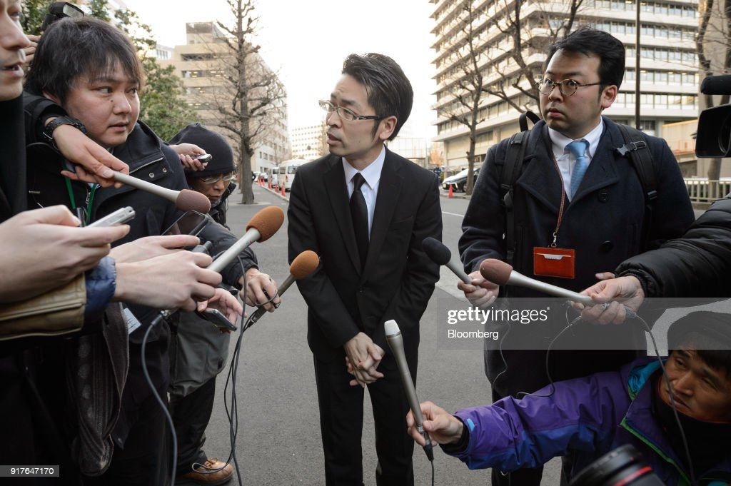 Yusuke Otsuka, chief operating officer of Coincheck Inc., speaks to members of the media outside of the Financial Services Agency (FSA) headquarters in Tokyo, Japan, on Tuesday, Feb. 13, 2018. Cryptocurrency exchange Coincheck, which lost about$500 millionto hackers last month, faced a deadline Tuesday to explain how the hack occurred and plans for improving its security to regulators at Japan's FSA.Photographer: Akio Kon/Bloomberg via Getty Images