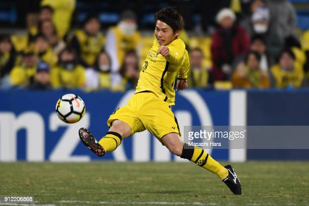 Yusuke Sagawa of Kashiwa Reysol in action during the AFC Champions League playoff between Kashiwa Reysol and Muangthong United at Hitachi Kashiwa...
