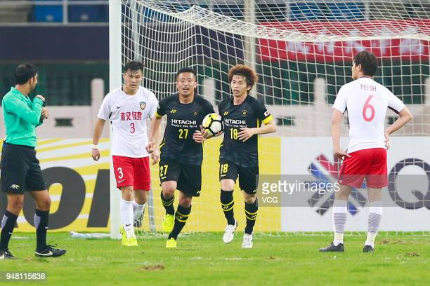 Yusuke Segawa of Kashiwa Reysol celebrates after scoring his team's second goal during the AFC Champions League match Group E match between Tianjin...