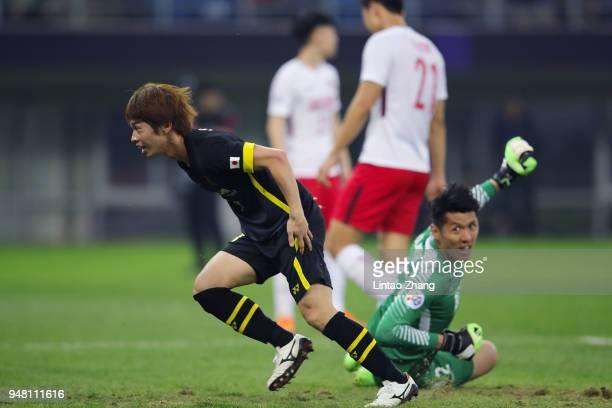 Yusuke Segawa of Kashiwa Reysol celebrates his goal during the AFC Champions League Group E match between Tianjin Quanjian and Kashiwa Reysol at...