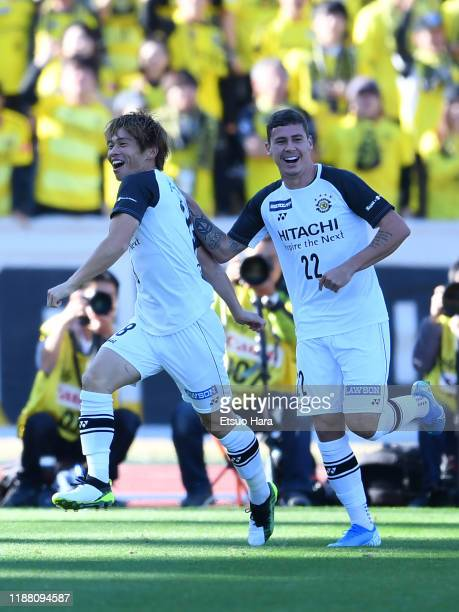 Yusuke Segawa of Kashiwa Reysol celebrates scoring his side's first goal during the JLeague J2 match between Machida Zelvia and Kashiwa Reysol at...