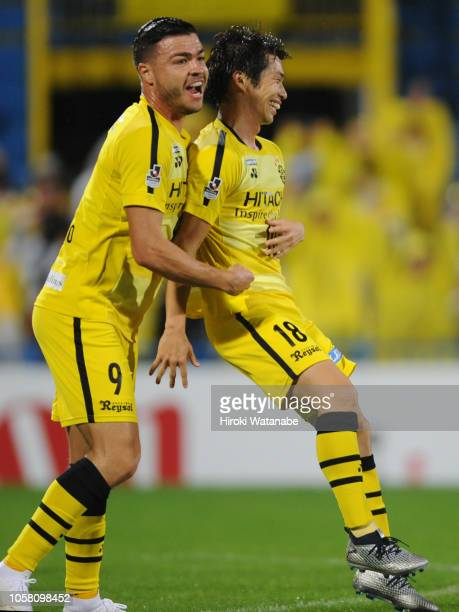 Yusuke Segawa of Kashiwa Reysol celebrates scring his team's second goal during the JLeague J1 match between Kashiwa Reysol and Kashima Antlers at...