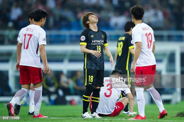 Yusuke Segawa of Kashiwa Reysol reacts during the AFC Champions League Group E match between Tianjin Quanjian and Kashiwa Reysol at Tinjin Olympic...