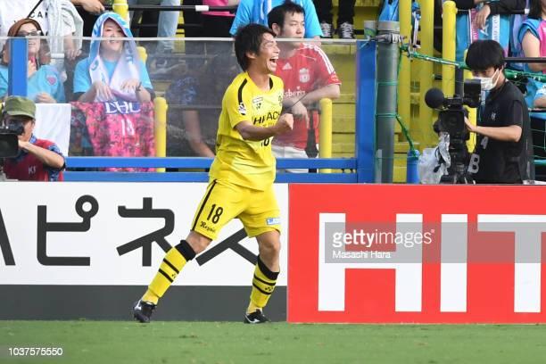 Yusuke Segawa of Kshiwa Reysol celebrates the first goal during the JLeague J1 match between Kashiwa Reysol and Sagan Tosu at Sankyo Frontier Kashiwa...