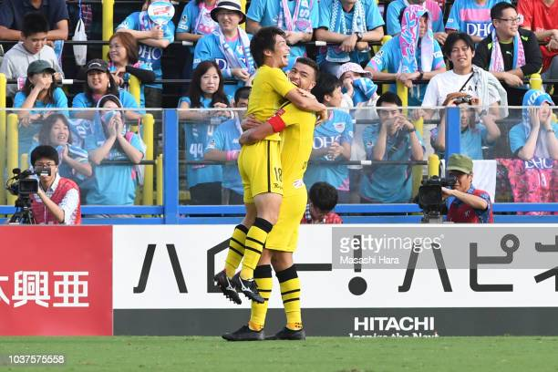 Yusuke Segawa of Kshiwa Reysol celebrates the first goal during the JLeague J1 match between Kashiwa Reysol and Sagan Tosu at Sankyo Frontier Kashiwa...