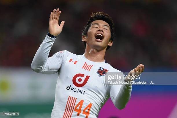Yusuke Segawa of Omiya Ardija reacts after missing a chance during the JLeague J1 match between Consadole Sapporo and Omiya Ardija at Sapporo Dome on...