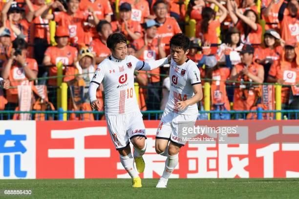 Yusuke Segawa of Omiya Ardija reacts after scoring his side's second goal during the JLeague J1 match between Kashiwa Reysol and Omiya Ardija at...