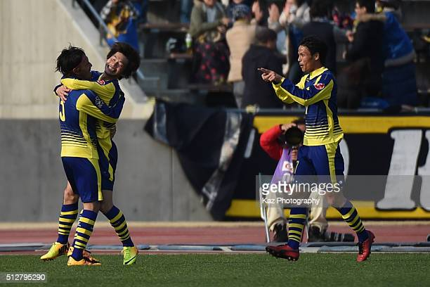 Yusuke Segawa of Thespa Kusatsu Gunma celebrates the 3rd goal with his team mates during the JLeague second division match between Thespa Kusatsu...