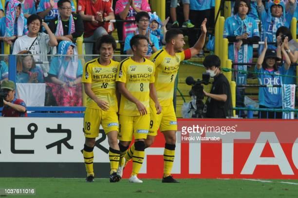 Yusuke Segawa#18 of Kashiwa Reysol celebrates scring his team's first goal during the JLeague J1 match between Kashiwa Reysol and Sagan Tosu at...