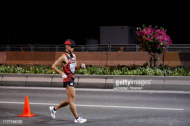 Yusuke Suzuki of Japan competes in the Men's 50 Kilometres Race Walk final on day two of 17th IAAF World Athletics Championships Doha 2019 in the...
