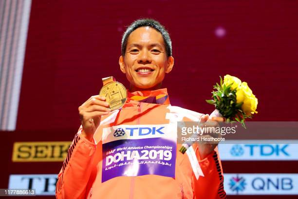 Yusuke Suzuki of Japan, gold, poses during the medal ceremony for Men's 50 Kilometres Race Walk during day three of 17th IAAF World Athletics...