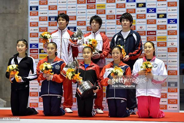 Yusuke Tanaka Kohei Uchimura and Ryohei Kato Aiko SugiharaNatsumi SasadaAsuka TeramotoSakura Yumoto and Yuki Uchiyama pose for a photograph during...