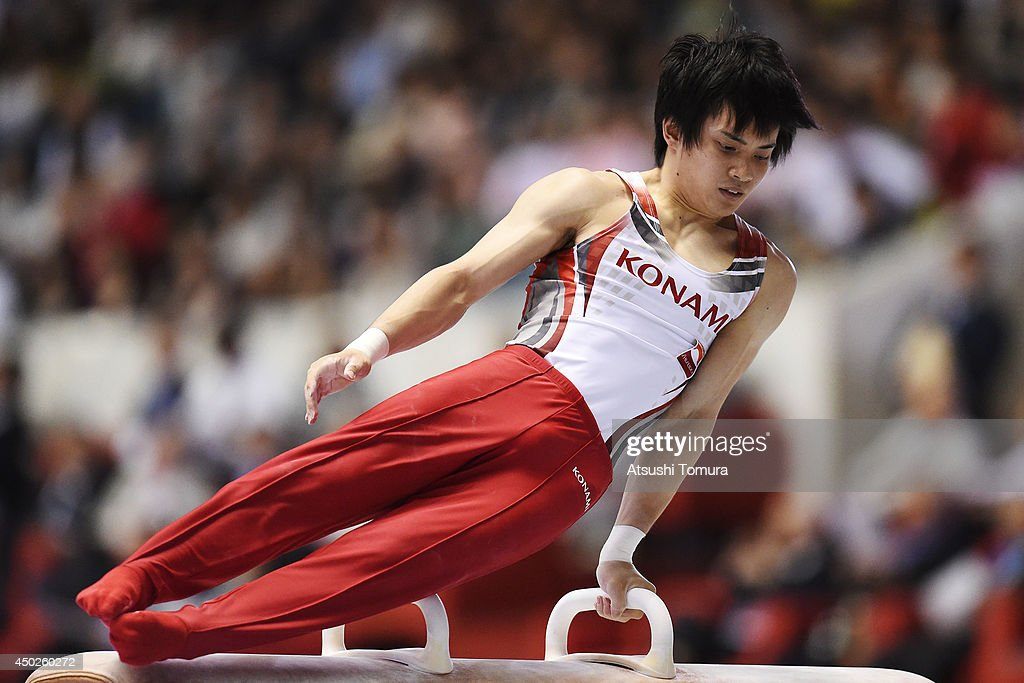 Yusuke Tanaka of Japan competes on the Pommel Horse during day two of the Artistic Gymnastics NHK Trophy at Yoyogi National Gymnasium on June 8, 2014 in Tokyo, Japan.