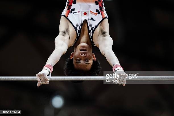Yusuke Tanaka of Japan during High Bar Team final for Men at the Aspire Dome in Doha Qatar Artistic FIG Gymnastics World Championships on October 29...