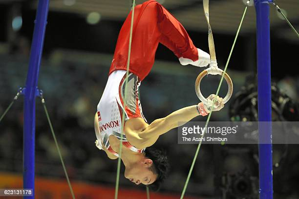 Yusuke Tanaka of Konami Sports Club competes in the rings during day three of the 70th All Japan Artistic Gymnastics Team Championships at Yoyogi...