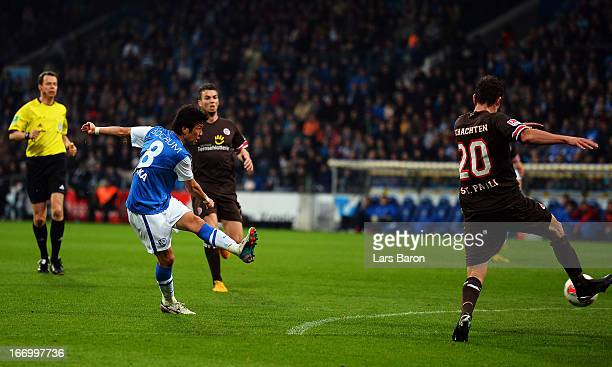 Yusuke Tasaka of Bochum scores his teams third goal during the Second Bundesliga match betweeen VfL Bochum and FC St Pauli at Rewirpower Stadium on...