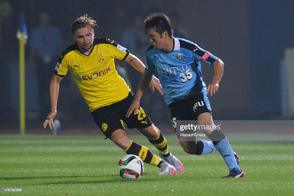 Yusuke Tasaka #35 of Kawasaki Frontale during the preseason friendly match between Kawasaki Frontale and Borussia Dortmund at Todoroki Stadium on July 7, 2015 in Kawasaki, Kanagawa, Japan.
