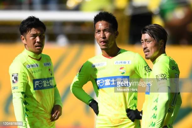 Yusuke Tasaka,Taishi Taguchi and Takayuki Funayama of JEF United Chiba look on during the preseason friendly match between JEF United Chiba and...