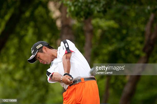 Yuta Ikeda of Japan follows through on a tee shot during the second round of the HP Byron Nelson Championship at TPC Four Seasons Resort Las Colinas...