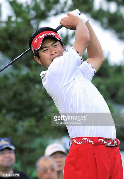 Yuta Ikeda of Japan hits a tee shot on the 10th hole during the first round of the San Chlorella Classic at Otaru Country Club on July 28 2011 in...