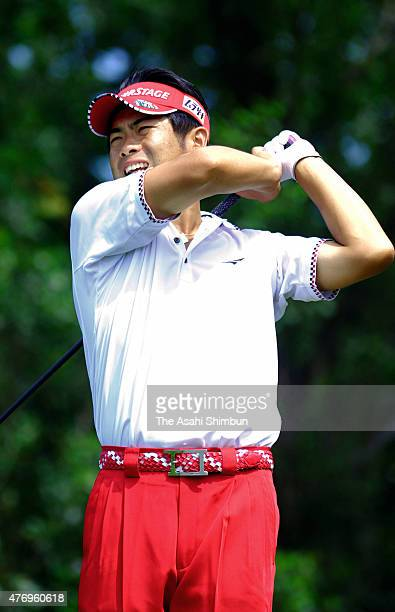 Yuta Ikeda of Japan hits a tee shot on the 11th hole during the first round of the San Chlorella Classic at Otaru Country Club on July 28 2011 in...