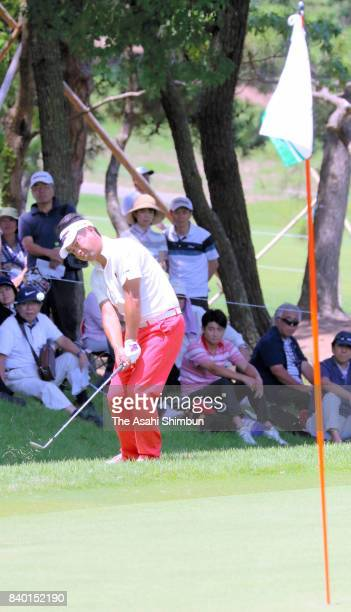 Yuta Ikeda of Japan hits an approach on the 6th hole during the final round of the RIZAP KBC Augusta at Keya Golf Club on August 27 2017 in Itoshima...