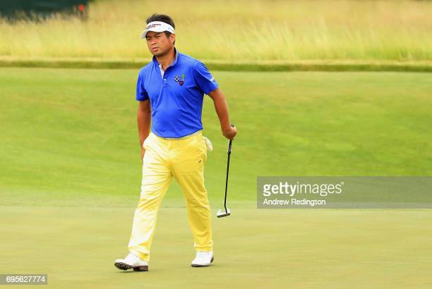 Yuta Ikeda of Japan on the 16th hole during a practice round prior to the 2017 US Open at Erin Hills on June 13 2017 in Hartford Wisconsin