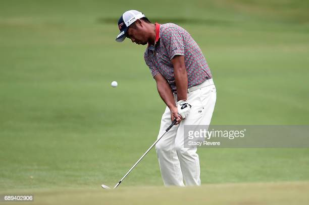 Yuta Ikeda of Japan plays a chip shot onto the 11th green during the Final Round of the DEAN DELUCA Invitational on May 28 2017 in Fort Worth Texas