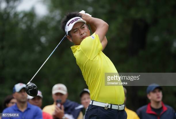 Yuta Ikeda of Japan plays a tee shot during a practice round prior to the 2017 PGA Championship at Quail Hollow Club on August 7 2017 in Charlotte...