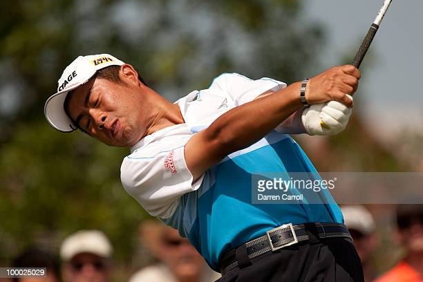 Yuta Ikeda of Japan plays a tee shot during the first round of the HP Byron Nelson Championship at TPC Four Seasons Resort Las Colinas on May 20 2010...