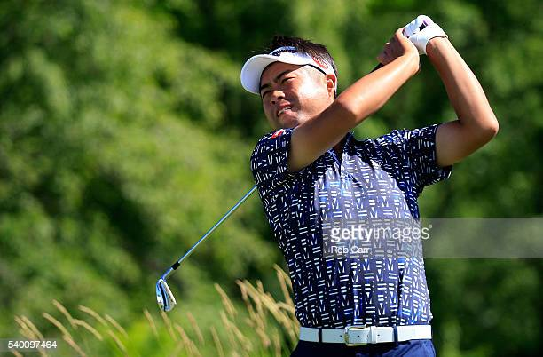 Yuta Ikeda of Japan plays his shot during a practice round prior to the US Open at Oakmont Country Club on June 14 2016 in Oakmont Pennsylvania