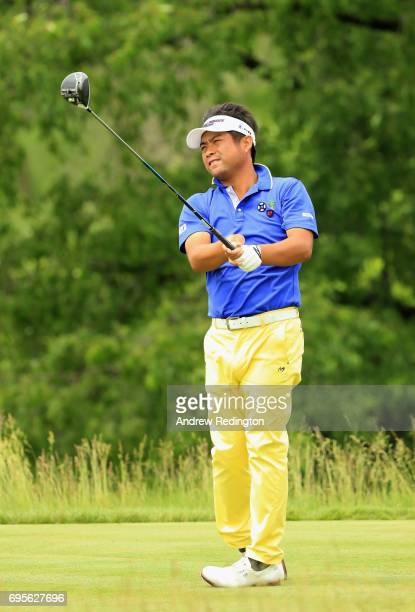 Yuta Ikeda of Japan plays his shot from the 17th tee during a practice round prior to the 2017 US Open at Erin Hills on June 13 2017 in Hartford...