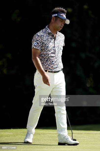 Yuta Ikeda of Japan reacts to a putt on the fifth green during Round Two of the DEAN DELUCA Invitational at Colonial Country Club on May 26 2017 in...