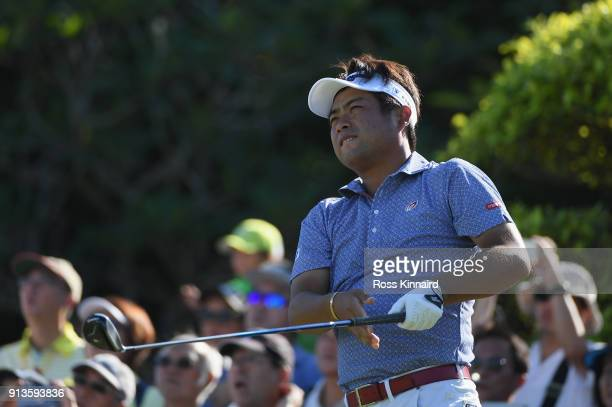 Yuta Ikeda of Japan tees off on the 1st hole during the third round of the Maybank Championship Malaysia at Saujana Golf and Country Club on February...