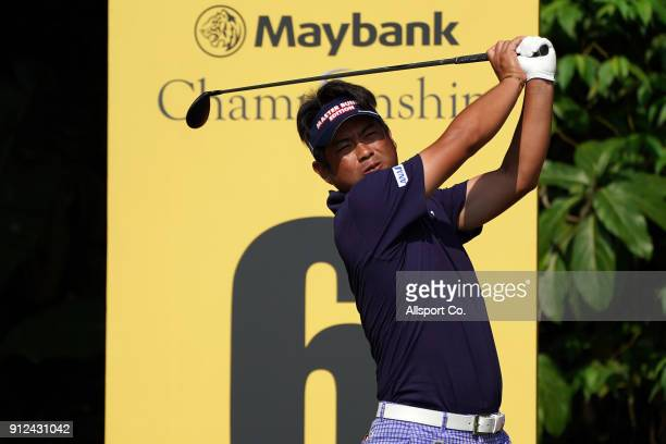 Yuta Ikeda of Japan watches his tee shot on the 6th hole during the ProAm at Saujana Golf and Country Club on January 31 2018 in Kuala Lumpur Malaysia