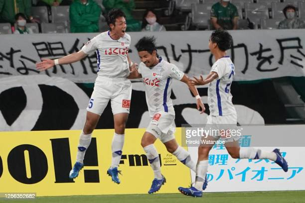 Yuta Imazu of Ventforet Kofu celebrates his team's first goal during the J.League Meiji Yasuda J2 match between Tokyo Verdy and Ventforet Kofu at...