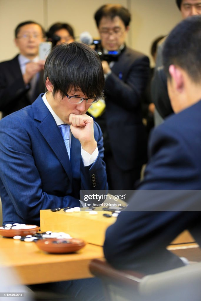 Yuta Iyama of Japan reacts after his defeat by Xie Erhao of China in the 22nd LG Cup Korea Daily Championship final game three at the Nihon Ki-In on February 8, 2018 in Tokyo, Japan.