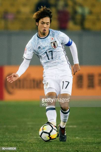 Yuta Kamiya of Japan drives the ball during the AFC U23 Championship Group B match between Thailand and Japan at Jiangyin Stadium on January 13 2018...