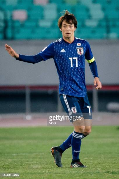 Yuta Kamiya of Japan in action during the AFC U23 Championship Group B match between Japan and Palestine at Jiangyin Sports Center on January 10 2018...