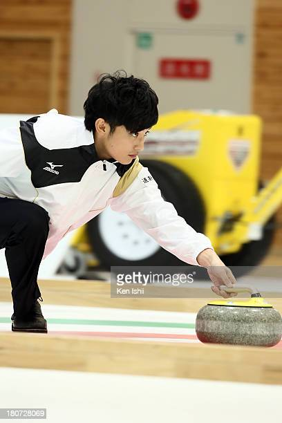 Yuta Matsumura of Sapporo throws a stone during Game Three of the Curling Japan Qualifying Tournament between SC Karuizawa and Sapporo at Dohgin...